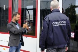 Erfurt: Komparsen für die EVAG in Aktion