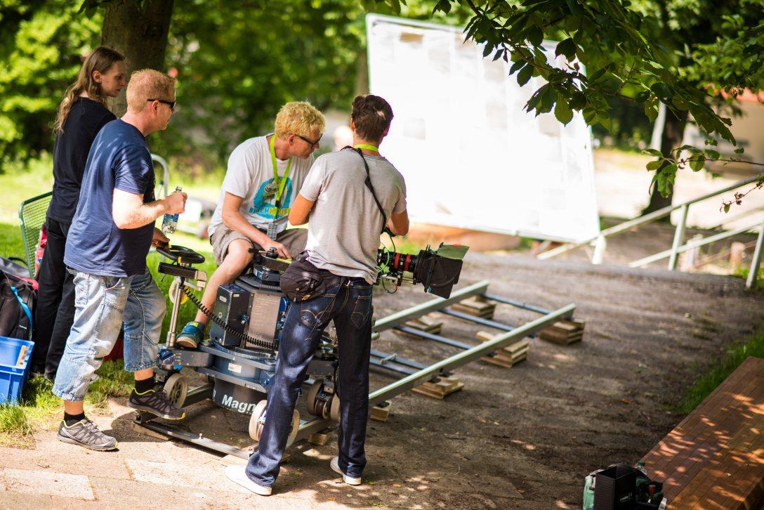 Dreharbeiten im egapark Erfurt , Schloss Einstein