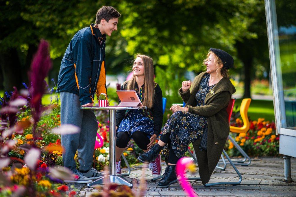 Dreharbeiten von Schloss Einstein im egapark Erfurt